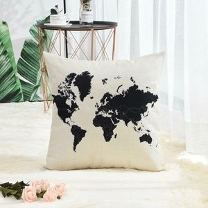 WORLD MAP oatmeal + black pillow cover